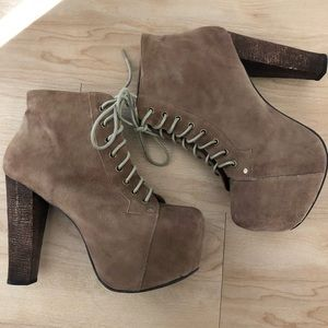 Jeffrey Campbell Lita suede booties in taupe